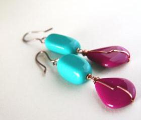 teal and plum earrings in copper - colorful 80s inspiration