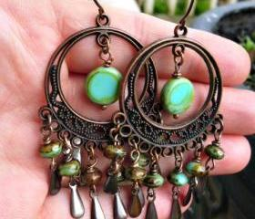 Chandelier earrings. Scroll filigree. Antique copper, green Czech Picasso glass. Bohemian, boho dangle earrings. Jewelry. Hoops.