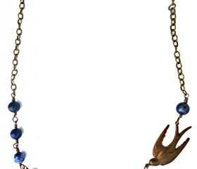 Wire wrapped Trinity Brass Patina Bird swallow pendant & Lapis Lazuli blue gemstone. Swallow Bird Necklace. Antique brass and gemstone.