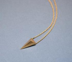3D long triangle necklace in gold