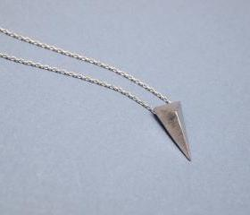 3D long triangle necklace in silver