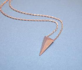 3D long triangle necklace in pink gold