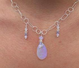 Australian Blue and Violet Opal Necklace