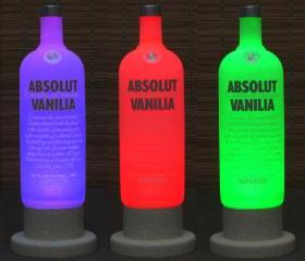 Absolut Vanilla Vodka Color Changing LED Remote Controlled Eco Friendly rgb LED Bottle Lamp/Bar Light / Intense Sparkle-Bodacious Bottles-