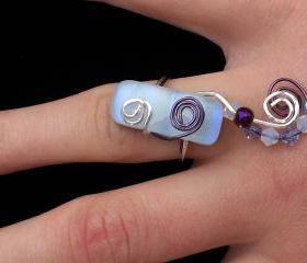 Fused Glass White with Purple Shimmer Ring