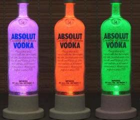 Absolut Vodka Color Changing LED Remote Controlled Eco Friendly rgb LED Bottle Lamp/Bar Light / Intense Sparkle-Bodacious Bottles-