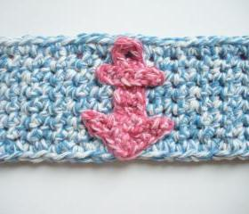 Light Blue Nautical Crochet Cotton Cuff Bracelet with Pink Anchor applique, ready to ship.