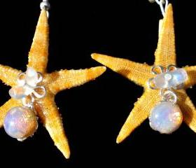 Starfish Earrings with Pink 1950's Vintage Glass Beads