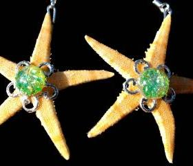 Starfish Earrings with Green 1950's Vintage Glass Bead