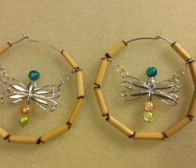 Dragonfly / Bamboo Medium Hoop Earrings