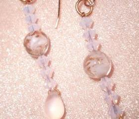 Pink Hand Blown Glass Earrings
