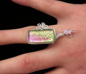 Fused Glass Multicolored Ring