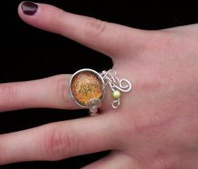 Fused Glass Honey Rose Sparkle Ring