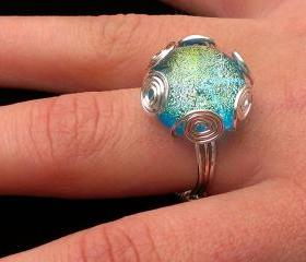 Fused Glass Light Blue Ring