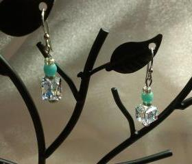 Sparkleing Square Swarovski Crystal Earrings