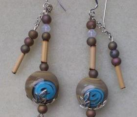 Hand Painted Stone Bead Earrings