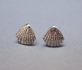 Scallop Seashell Post Earring in silver