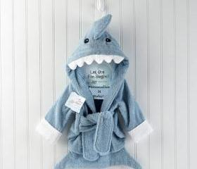 Blue Personalized baby boy bath Robe Terry Shark Robe