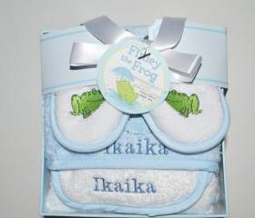 Personalized baby gift boy or girl towel Bathtime Four Piece Gift Set great for baby shower gift