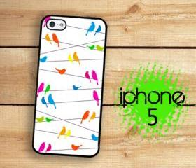 IPhone 5 Case - Rainbow Birds on a Wire White Background