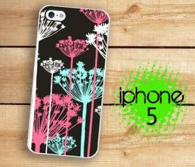 IPhone 5 Case - Pink Black Blue Shabby chic Flowers