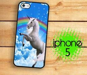 IPhone 5 Case - Rainbow 80's Unicorn Art