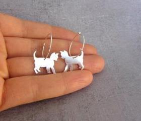 Cat hoop earrings, sterling silver.