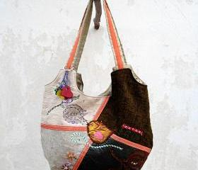 Hobo Bag in Grey Green Beige, Patchwork Bag Little Bird, HandMade Bag, Book Bag, City Bag.Ready to Ship,Single Copy.