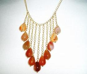 Carnelian and Gold plated chain Necklace gift idea