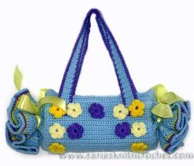 Girl Woman Blue Purse Floral Blue Purse - Baby Bags for Girls- Crochet Blue Girls Purse Tootsie Roll