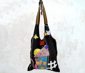Full Moon Cat House, Hobo Bag in Pink Brown Blue, Patchwork Bag, HandMade Bag, Book Bag, City Bag.Ready to Ship,Single Copy.