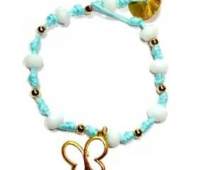 beutiful buterfly light blue knotted bracelet