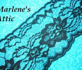 1 yard of 4' Black Chantilly Lace trim w/ scalloped edge for gothic, steampunk, altered couture, lingerie by MarlenesAttic - Item FD