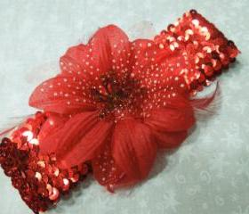 Red Sequin headband with Red feather flower for children, baby, hair accessories by MarlenesAttic