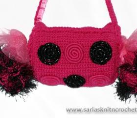 Girls Hot Pink Purse for Girl Tootsie Roll Purse- Round Ruffled Pink Purse