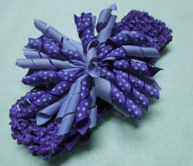 Purple crochet headband with purple korker ribbon flower for children, baby, hair accessories by MarlenesAttic