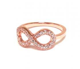 Infinity Ring-Rose Gold Over Sterling Silver Ring With Hand Set Cubic Zirconia