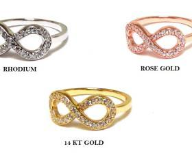 Infinity Ring-14 Kt Gold Over Sterling Silver Ring With Hand Set Cubic Zirconia
