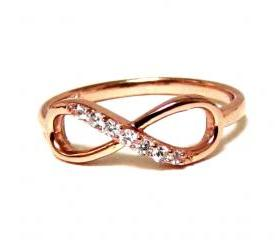 Infinity Ring-Rose Gold Over Sterling Silver Ring With Cubic Zirconia Size 5,6,7,8,9