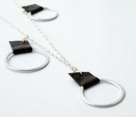 Minimalist Geometric Necklace Sterling Silver Brown Leather Aluminum Hoops Modern Jewelry by SteamyLab