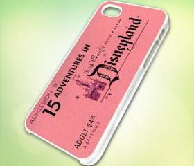 HP132 Vintage DisneyLand Ticket design for iPhone 5 White Plastic Case - leave message for Black Case / iPhone 4 or iPhone 4S Case