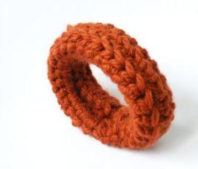 Crochet Bangle Merino Wool Rusty Fall Winter Fashion Wristband Women Accessories by SteamyLab