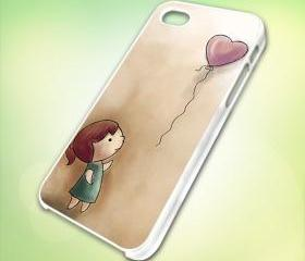 HP147 balloongirl design for iPhone 5 White Plastic Case - leave message for Black Case / iPhone 4 or iPhone 4S Case