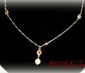 Sterling Silver Bridal Necklace w/Swarovski Crystal Drops & Pearl Pendant, Bridal Jewelry, Wedding Jewelry, Bridesmaid Jewelry