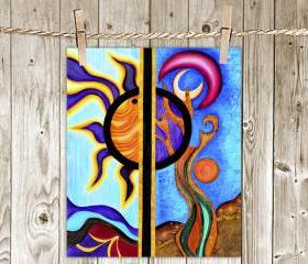 Poster Print 8x10 - Multicolor Sun and the Moon - of Fine Art Painting for Your Wall Decor