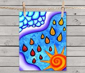Poster Print 8x10 - Multicolored Sunny Rainy Day - of Fine Art Painting for Your Wall Decor