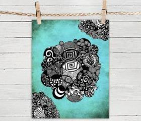 Poster Print 8x10 - Turquoise Organic Circles - of Fine Art Illustration for Your Wall Decor