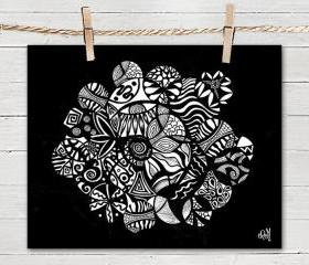Poster Print 8x10 - Black Tribal Life Circles - of Fine Art Illustration for Your Wall Decor