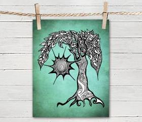 Poster Print 8x10 -Green Sunny Tree - of Fine Art Illustration for Your Wall Decor