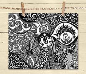 Poster Print 8x10 - Tribal Flow - of Fine Art Illustration for Your Wall Decor